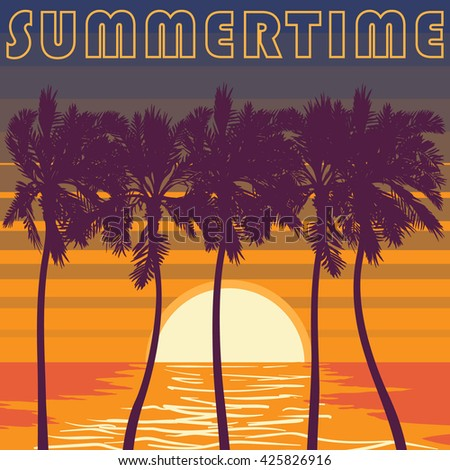 Pacific ocean palm beach. Summer tropical heat print. Summertime print vector illustration, Palm trees  and sunset illustration. Sunset sky in stripes. EPS10 vector illustration. - stock vector