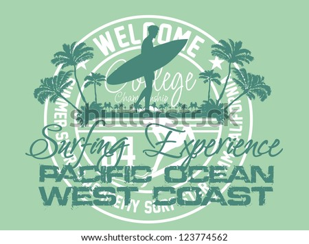 pacific surfer vector art - stock vector