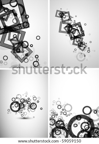Pack of abstract squares and circles - stock vector