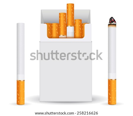 Pack of cigarettes, white blank box and cigarette. Vector Illustration on white background.