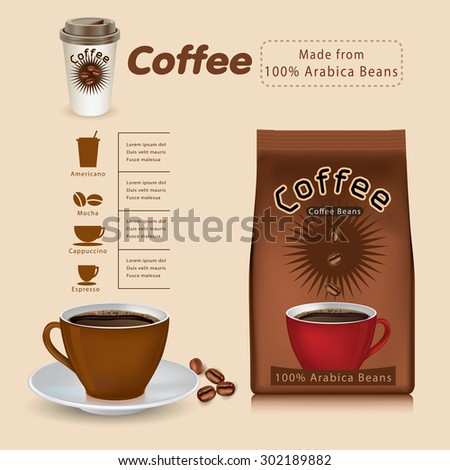 Pack of coffee vector.infographics - stock vector