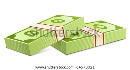 Pack of dollars. Vector illustration. Packs of dollars money