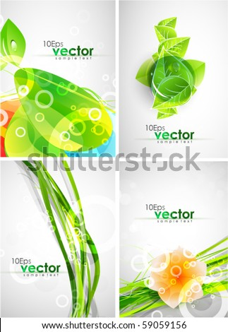 Pack of green abstract backgrounds - stock vector