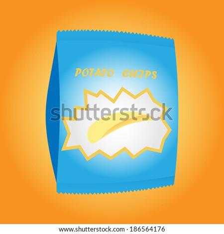 Pack of potato chips - stock vector