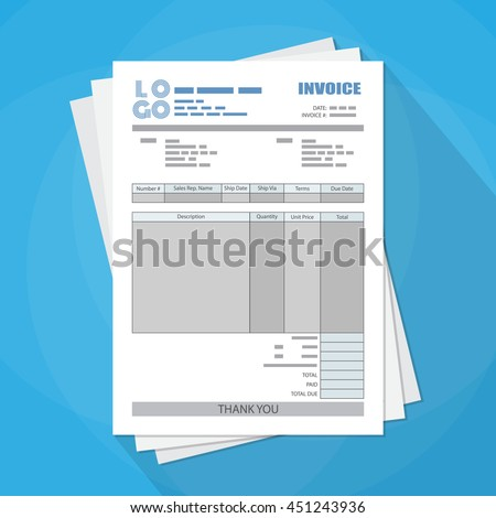 Pack of unfill paper invoice form. tax. receipt. bill. vector illustration in flat style on blue background with long shadow - stock vector
