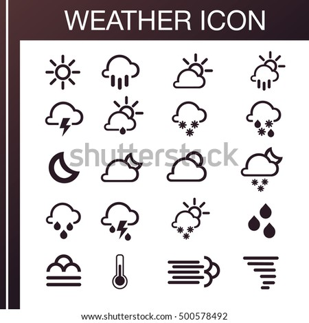 Pack of weather icons. All icons for weather with sample of use. Icons set. 100% vector, eps 10. Weather icons.