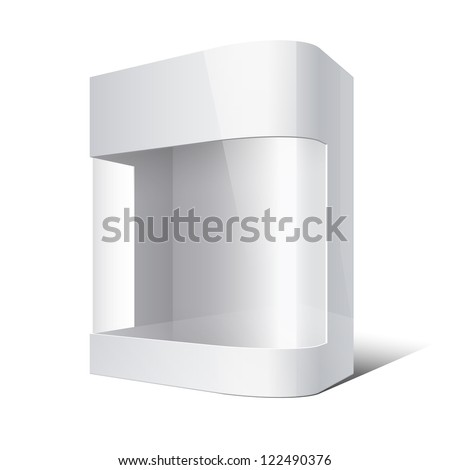 Package Box with rounded corner and transparent plastic window. Vector illustration - stock vector