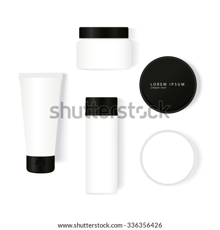 Package design gallery: tube, jar, bottle in realistic style. Creative template with top view perfectly for presentation cosmetic design or concept.  Vector illustration easy editing, not tracing. - stock vector