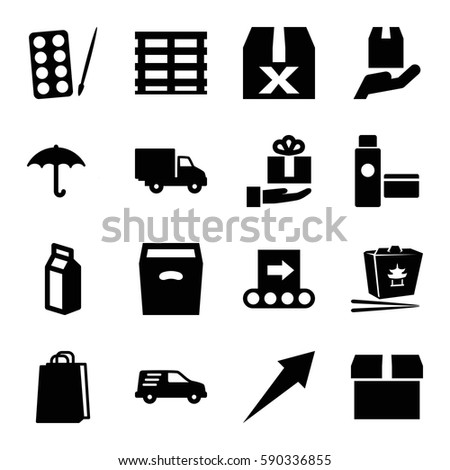 Package Icons Set Set 16 Package Stock Vector 590336855 Shutterstock
