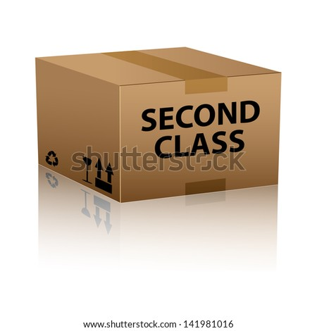 package sending less urgent second class shipment cardboard box delivery - stock vector