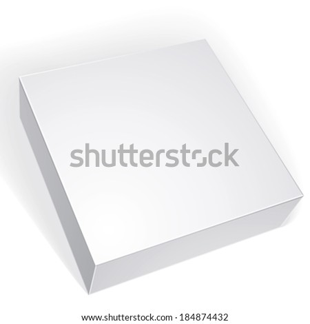 Package white box design isolated on white background, template for your package design, put your image over the box in multiply mode, vector illustration eps 8.