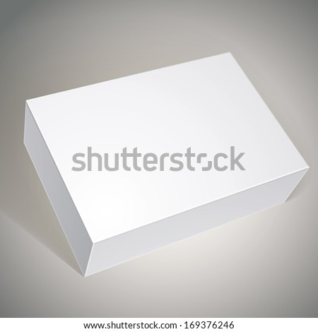 Package white box design, template for your package design, put your image over the box in multiply mode, vector illustration. - stock vector