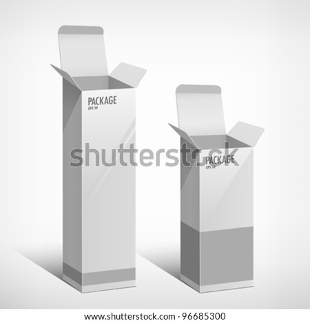Package white box long design, vector illustration - stock vector