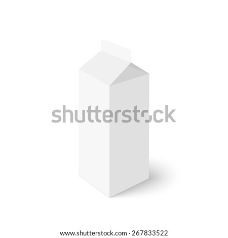 Package white box on a white background. vector. Realistic 3d blank for milk or juice