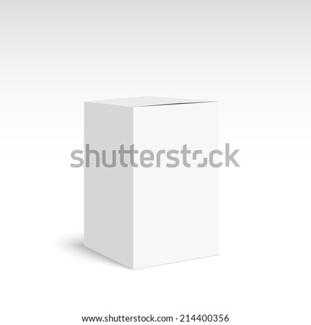 Package white box on a white background. vector. Realistic 3d blank for perfume, Software, electronic device, tea box and other products. - stock vector