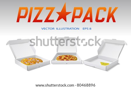 Packaging boxes of pizza are shown on the image. - stock vector