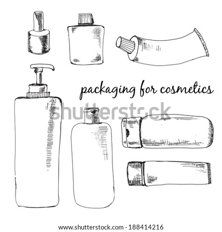 Packaging for cosmetics. Set of hand drawn illustrations