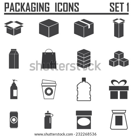 packaging icons set 1 - stock vector