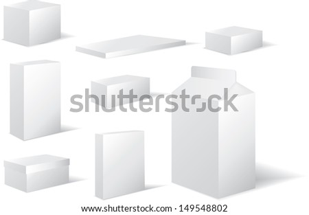 packaging in white card in different square and rectangle shapes inc milk carton