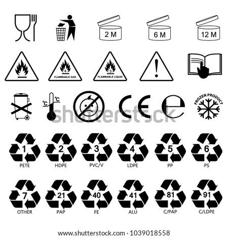 Packaging Information Label Icons Packaging Label Stock Vector Hd