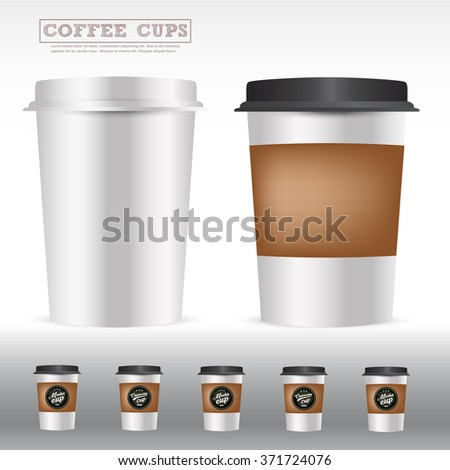 Packaging of isolated coffee cups,To apply for idea advertising,packaging, menu background,coffee shop, restaurant product,cafe .vector illustration