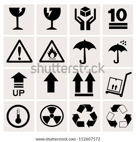 Packaging sign icons with White Background - stock vector