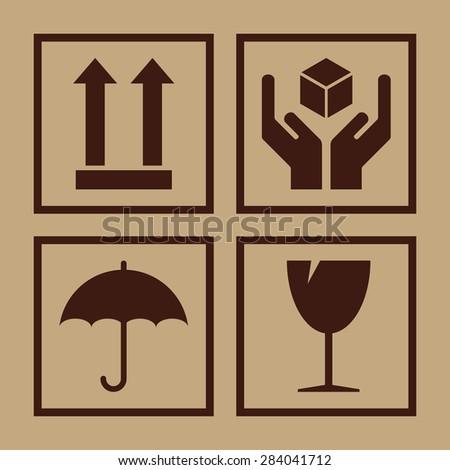 Packaging symbols. Fragile icons on cardboard, vector illustration - stock vector