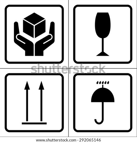 Packaging symbols in a squares (Fragile icon, Keep dry icon, This side up icon, Handle with care icon). Fragile cardboard black signs isolated on a white background. Stock vector illustration - stock vector