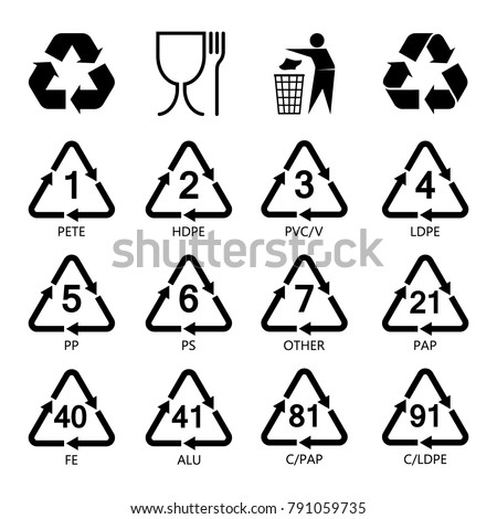 Packaging Symbols Set Resin Icons Plastic Stock Vector Royalty Free
