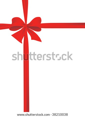 Packaging with a red ribbon with a bow. Vector illustration