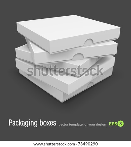 packing boxes with pizza vector illustration isolated on grey background - stock vector