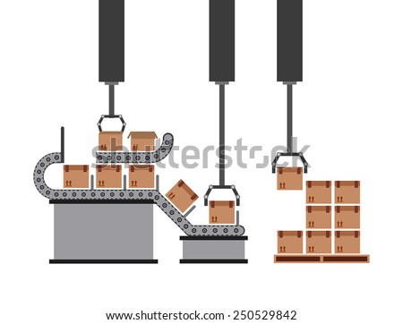 packing machine design, vector illustration eps10 graphic  - stock vector
