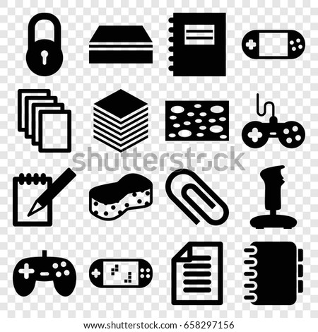 Pad icons set. set of 16 pad filled icons such as lock, joystick, sponge, paper, portable console, notebook, portable game console, notepad