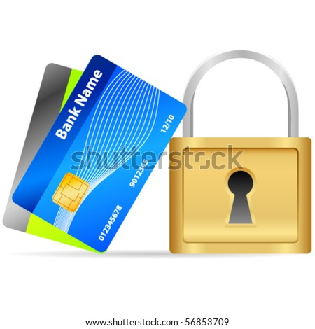 Padlock and credit cards - vector illustration - stock vector