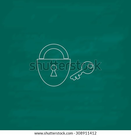 Padlock and key. Outline vector icon. Imitation draw with white chalk on green chalkboard. Flat Pictogram and School board background. Illustration symbol - stock vector