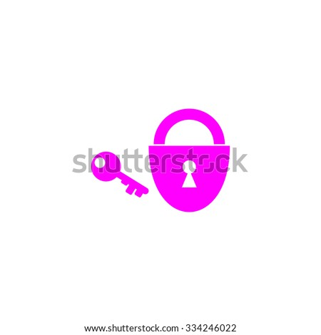 Padlock and key. Pink flat icon. Simple vector illustration pictogram on white background - stock vector