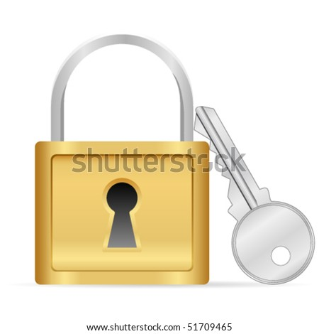 Padlock and key - vector illustration - stock vector