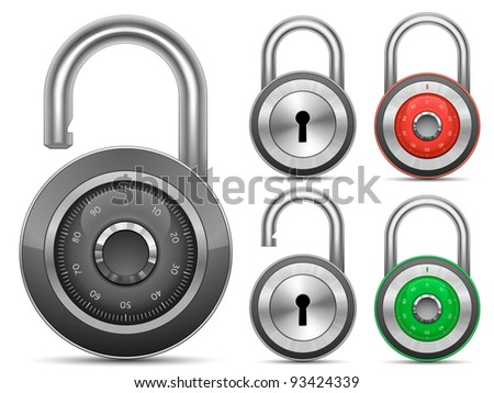 Padlock Collection. Vector illustration - stock vector