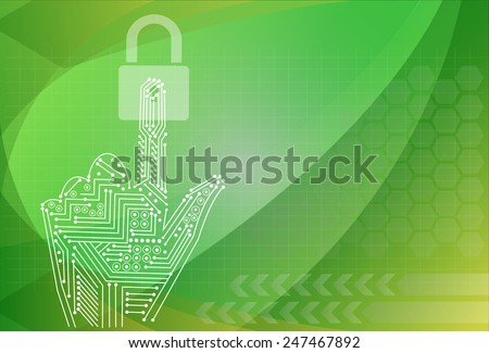 padlock icon holding by hand on the background technologies. - stock vector