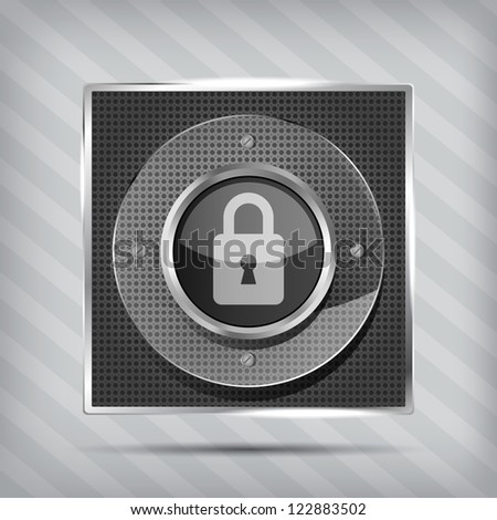 padlock icon on the striped background