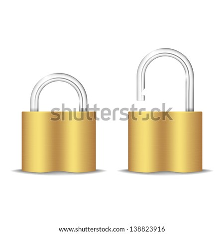 Padlock Icon. Open And Closed. Isolated On White. Vector Illustration - stock vector