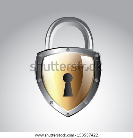 padlock isolated over gray background vector illustration  - stock vector
