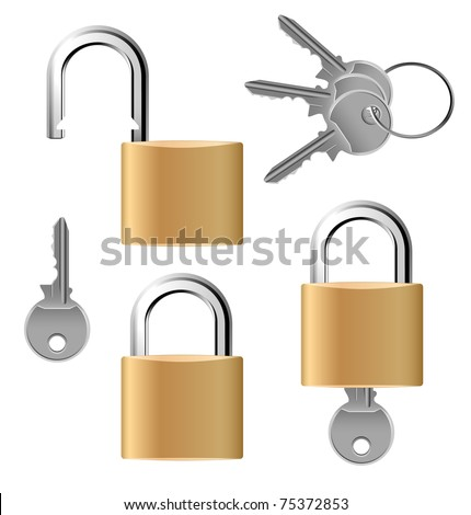 Padlock set with keys - stock vector