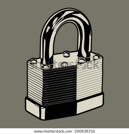 Padlock: Vector illustration of a metal pad lock for use as a design element.  - stock vector