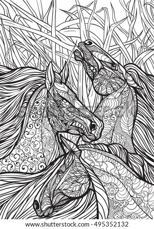 Horse Head Coloring Page Stock