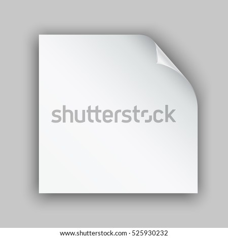 Page curl with shadow on white blank sheet of paper. White paper sticker. Element for advertising and promotional message on gray background. Vector illustration for your design and business