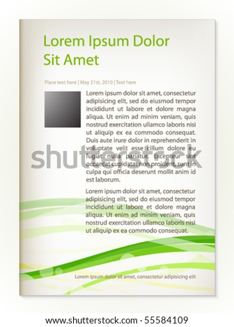 Page design with abstract  green background