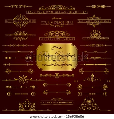 Page Dividers and ornate headpieces in gold set 1