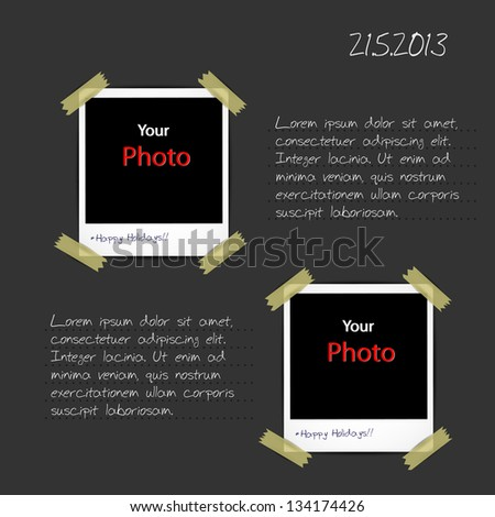 page from photo album with place for your text - stock vector