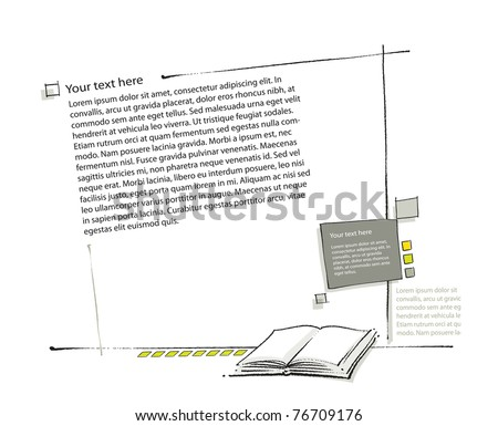 Page layout, book icon included (simple linear drawing, blank text, vector) - stock vector
